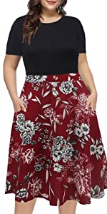 plus size casual work dress short sleeve floral patchwork mid dress