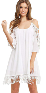 Cold Shoulder Crochet Lace Sleeve Dress