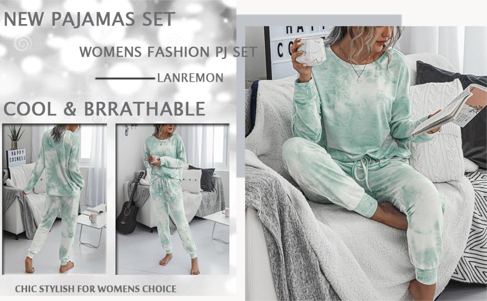 sleepwear for women Long sleeve pajamas tops Womens Tie Dye Printed Long Tops Pajamas Set