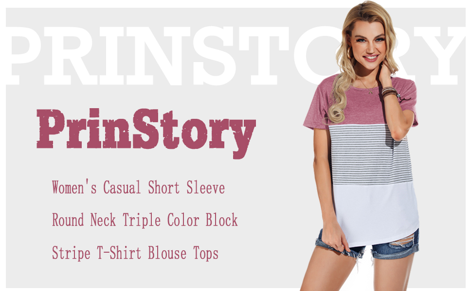 PrinStory Womens Casual Short Sleeve Round Neck Triple Color Block Stripe T-Shirt Blouse Tops