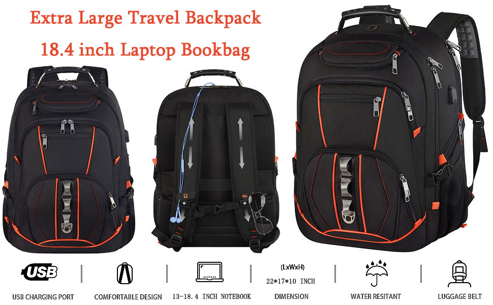 TSA Friendly Water Resistant Business Computer Bag Fit 17 Inch Laptops 45L,Black