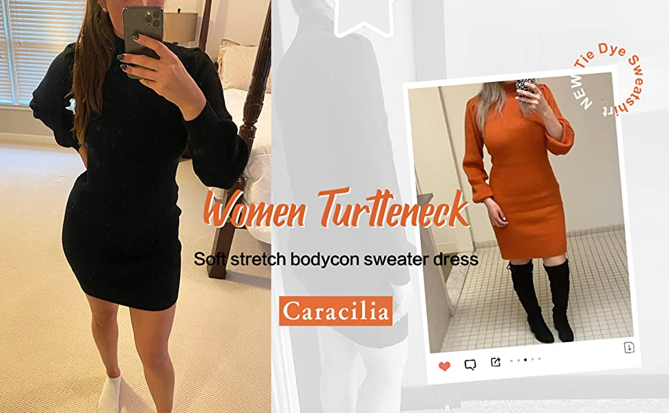 Caracilia Women's Turtleneck Long Sleeve Knitted Bodycon Pullover Sweater Dress