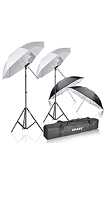 Emart Double Off Camera Speedlight Flash Umbrella Kit, Shoemount E-Type Brackets