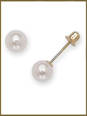 Multiple Colors Round-Cut SOLD BY PAIRS Solid 14K Gold Classic Freshwater Cultured Pearl and Cubic Zirconia Studs