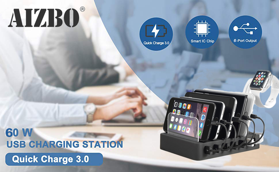 QC 3.0 Charging Station 6 Port Docking Stations Desk Organizer USB Charger fit Multiple Devices