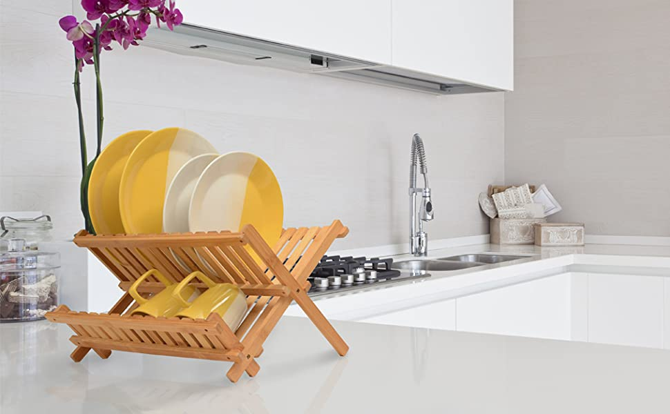 dish rack on counter
