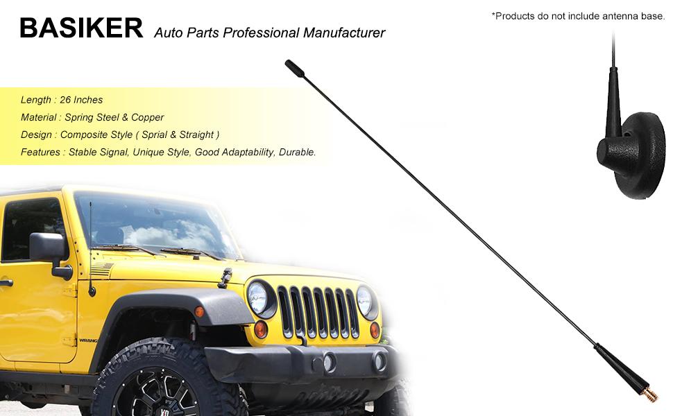 BASIKER 26 Inch Spring Steel Screw Thread Antenna for 2007-2019 Jeep Wrangler JK JKU JL JLU Rubicon Sahara FM//AM Radio Reception /& Unafraid Car Wash