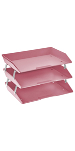 acrimet facility letter tray 3 tier side load solid pink color