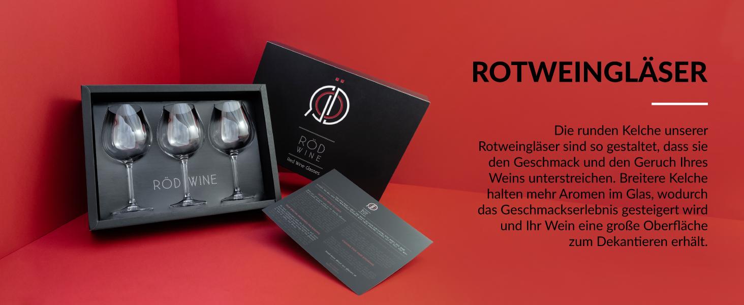 Rotweinkelch Glas Kristall Set mit wunderschöner Aufbewahrungsbox für Gläser als Geschenkset