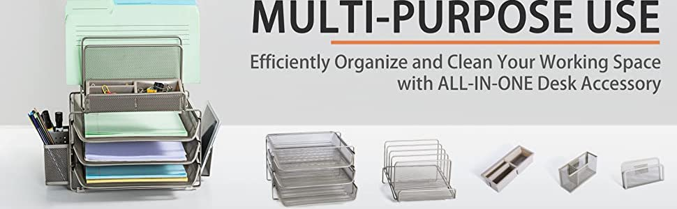 Stackable Sliding Letter Trays File Holders 2 Side Compartments Pencil Holder Non-SlipOffice Storage