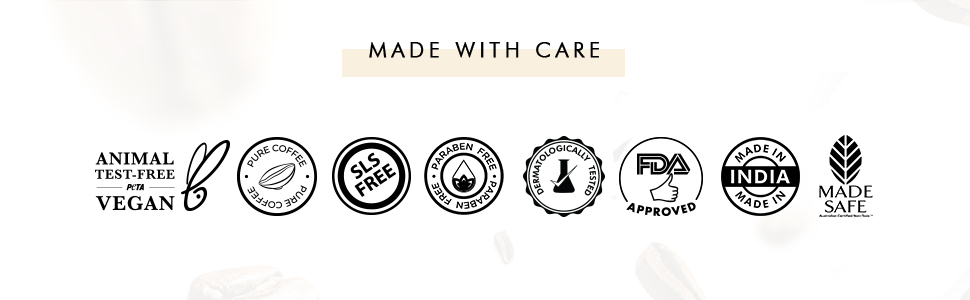 animal test free vegan sls free paraben free dermatologically tested FDA approved made in India