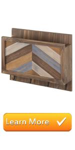 brown wood chevron design multi rustic wall mounted entryway shelf mail storage key hooks organizer