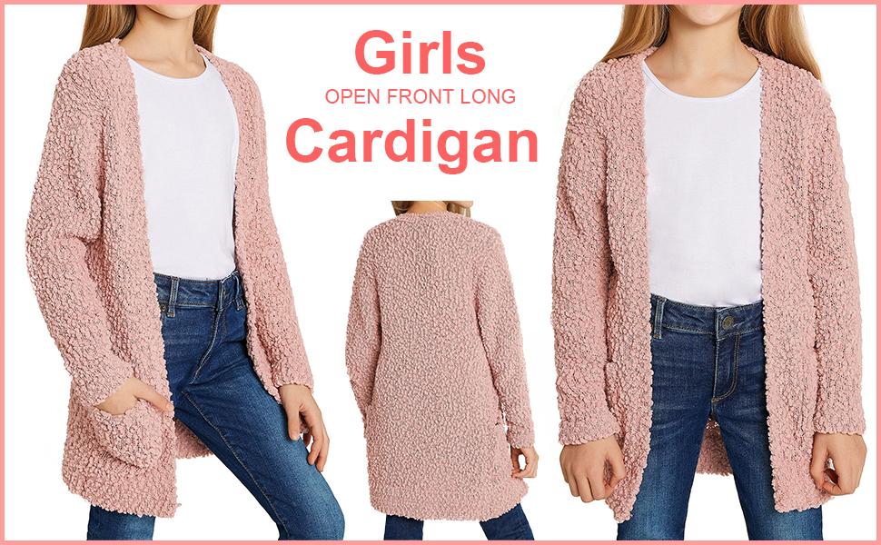 GRAPENT Girls Open Front Long Sleeve Cardigan Pocket Sweater Outwear 4-13 Years