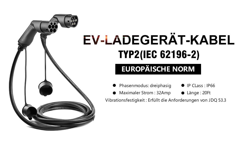 Type 2 Ladekabel 22KW 3 Phasig 32A EV Ladekabel Typ 2 zu Typ 2 f/ür Elektrofahrzeuge mit Tragetasche IEC 62196-2 5M K.H.O.N.S