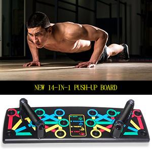 Lacyie Tabla de Flexiones 14 en 1,Push Up Rack Board Fitness Entrenamiento Gimnasio Ejercicio Stands para Entrenamiento en el Interior y en el Brazo