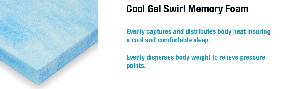 Memory Foam Mattress Topper Cool Gel Swirl Twin Twin-XL Full Queen King Cal-King