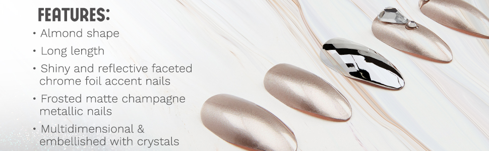 Ardell Nail Addict Artificial Nail Set, Champagne Ice