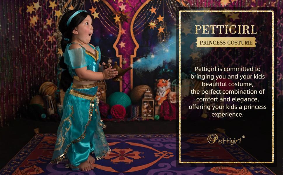 Pettigirl Girls Princess Dress Up Costume Teal & Gold Outfit…