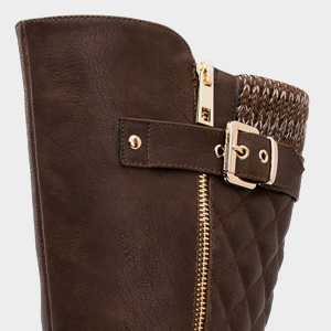 Zipper boots with low stacked heel