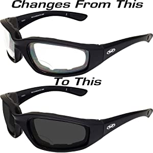 Global Vision Kickback Photochromatic Blue Lens Padded Frame Safety Sunglasses