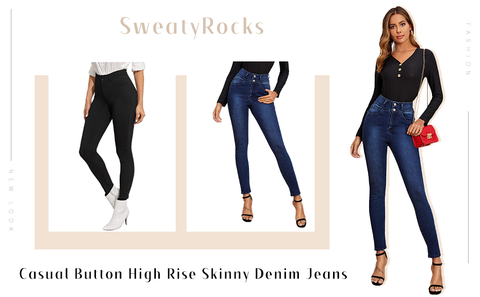 Button High Rise Skinny Denim Jeans