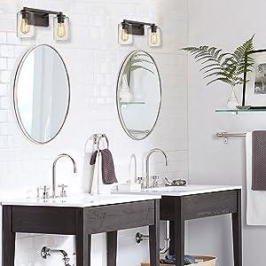 Bathroom Vanity Light Beionxii Bath Wall Light Fixtures Oil Rubbed Bronze Clear Seeded Glass