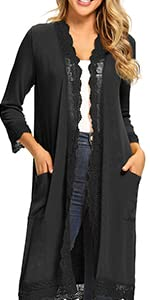 lace trim cardigans with pocket