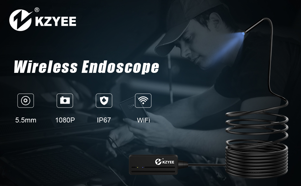 iThrough Endoscope Camera Inspection Snake Camera WiFi IP67 Waterproof 3 in 1 for Android /& iOS Smartphone Tablet with 5.5mm 6 PCS LED Lights Black Wireless Endoscope Wireless Borescope
