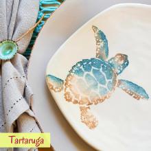 vietri tartaruga pesci colorati coastal beach sea dining dinnerware table italy glass ceramic plate