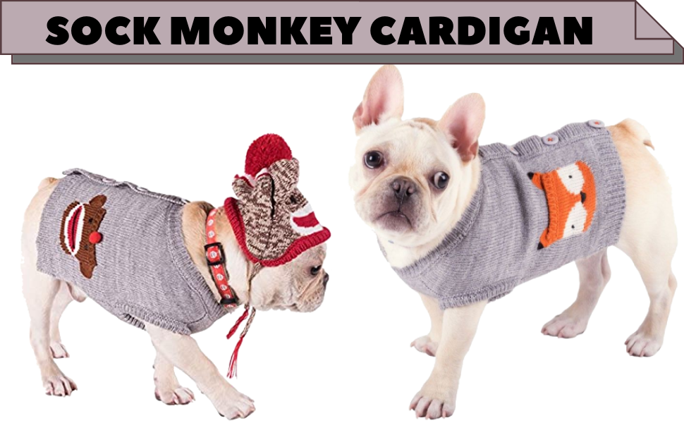 The Worthy Dog Sock Monkey Cardigan