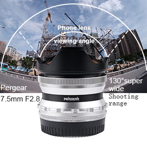 PERGEAR 7.5mm F2.8 Fish Eye Manual Focus Fixed Lens Compatible with Sony NEX//FS5//A6000,A6100,A6300,A6400 APS-C mirrorless Camera