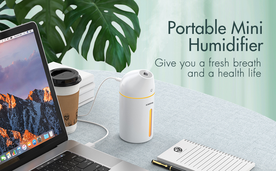 Homasy 320ml Cool Mist Humidifiers, Portable Mini Humidifier with 20 Hours Working Hours, 19dB Whisper Quiet, 2 Mist Modes, USB Desktop Air Humidifier