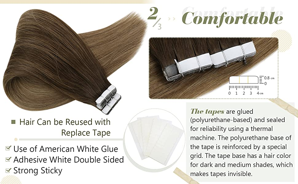 Balayage Brown Hair Extensions Tape in