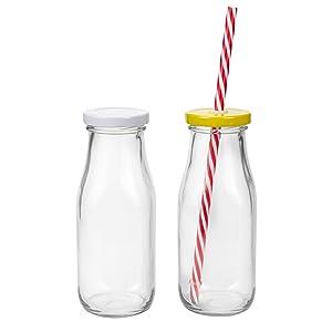 11 oz Reusable Glass Milk Bottles, Vintage Dairy Bottles
