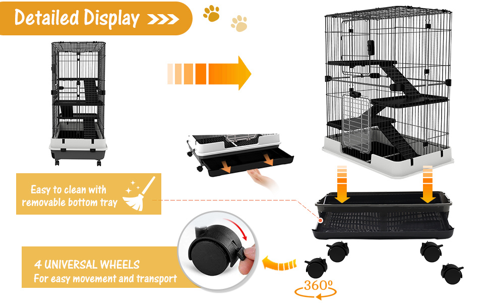Rabbit Cage Indoor Rolling Small Animal Crate Hamster House Ferrets Chinchillas Hutch Pull Out Tray
