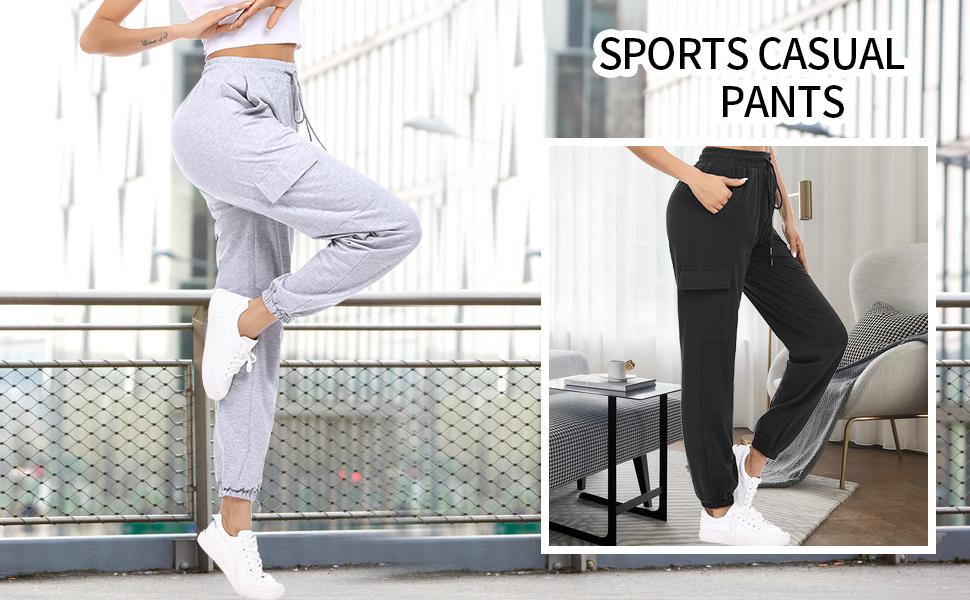 HAPYWER Damen Jogginghose Farbblock Sporthose Lang Weit mit Taschen Trainingshose Baumwolle Visueller Schock Freizeithosen Sporthose Gro/ß Gr/ö/ße Laufen Yoga Tanzen S-2XL