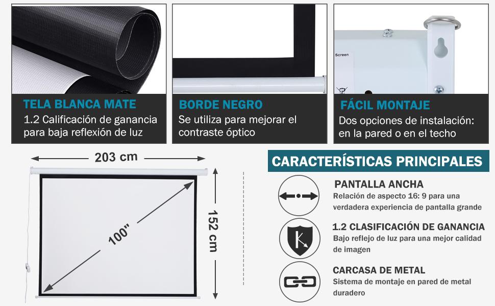 HOMCOM Pantalla del Proyector Eléctrica Portátil Universal ...