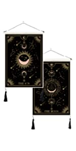 Sun and Moon Mysterious Tarot tapestry wall hanging