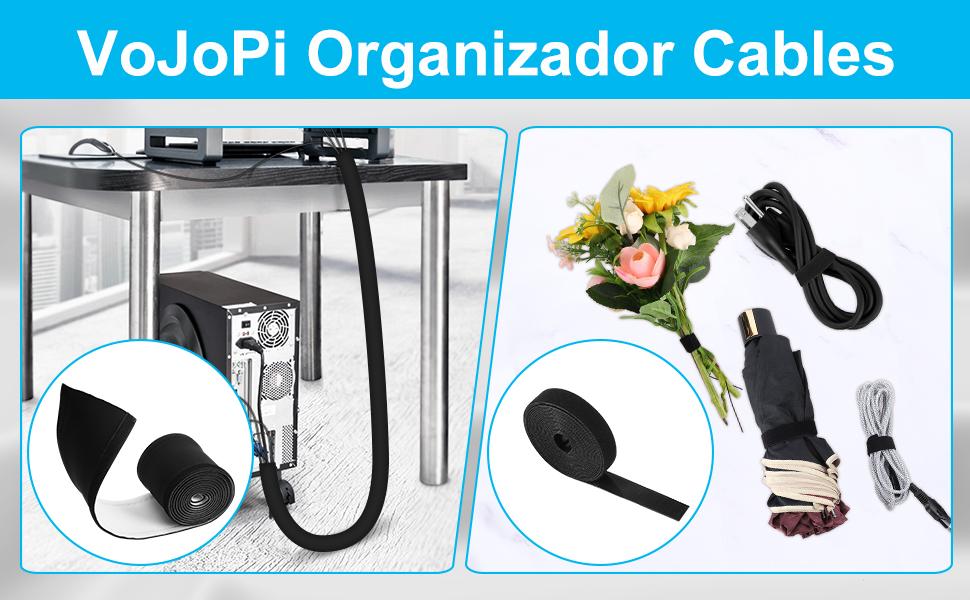 VoJoPi Organizador Cables, 300cm Flexible Funda Cubre Cables de Neopreno +300cm Bridas para Cables, Organizador de Cables de para Recoge TV, PC Cables - Reversible en Blanco y Negro(∅3.5cm): Amazon.es: Bricolaje y
