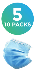 LifeToGo 3ply Disposable Face Mask Protection Adult Individual Package Pack 50 Fifty