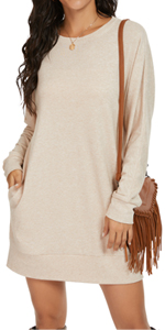 PrinStory Women's Long Sleeves Causal Loose Round-Neck Tuinc Tops Basic Dress with Side Pockets