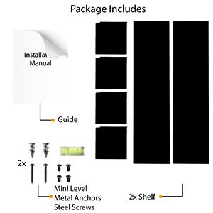 "Wallniture libro u shape metal shelf black set of 2 floating shelf metal black 24"" package"