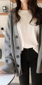 ニット カーディガン オーバーサイズ ドロップショルダー Vネック ボタン 長 袖 ゆったり 秋冬 大きめ 大きい おおきい カーデガン ニットカーディガン セーター 黒 かわいい 可愛い 体型カバー