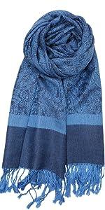 blue jacquard paisley pashmina scarf