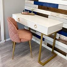velvet vanity chairs set