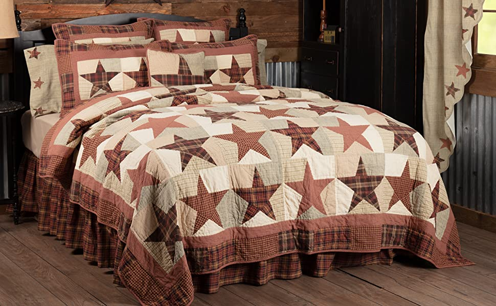 Abilene Star Quilt primitive country rustic Americana VHC Brands patchwork star bedding set