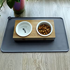cat feed mat with elevated cat bowls
