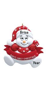 Snow baby boy girl shower newborn registry personalized gifts keepsake  first christmas ornament