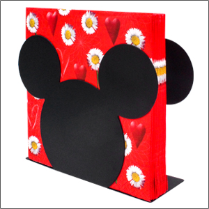 Finex Black Mickey Mouse Head Stainless Steel Metal Napkin Holder Stand for kitchen camping van top