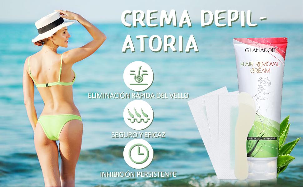 Crema Depilación Hidratante- GLAMADOR Crema Depilatoria Mujer para Pieles Sensibles- Extracto de Aloe Vera y Rosa, Depilación Suave, Tubo de 100 ml y Espátula: Amazon.es: Belleza